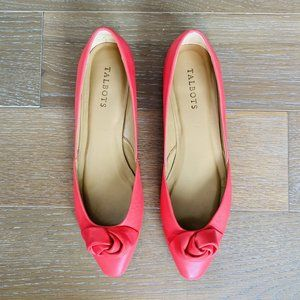 Talbots Rose Bow Leather Flats   Pink   9.5M